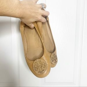 Tory Burch tan leather reva flats